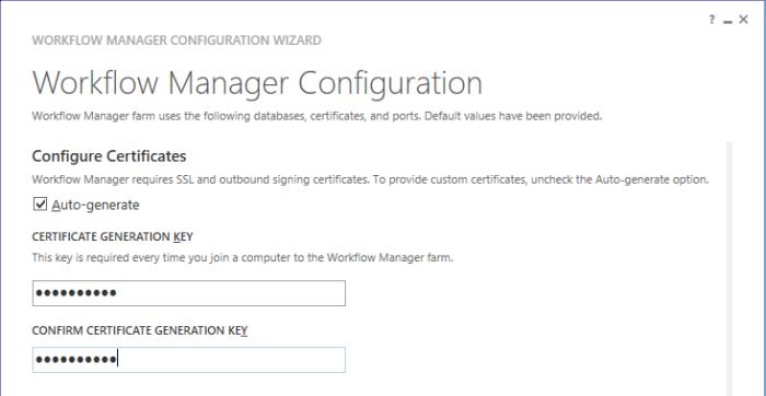 Configure WF Cert