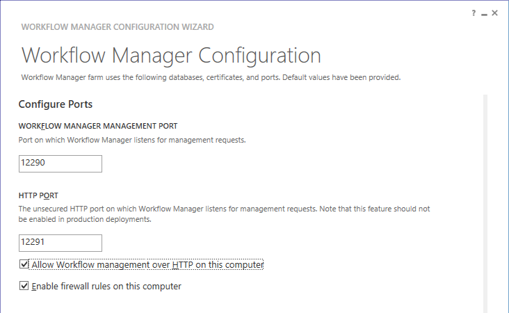 Configure WF Ports - Configure Workflow Manager for SharePoint 2013