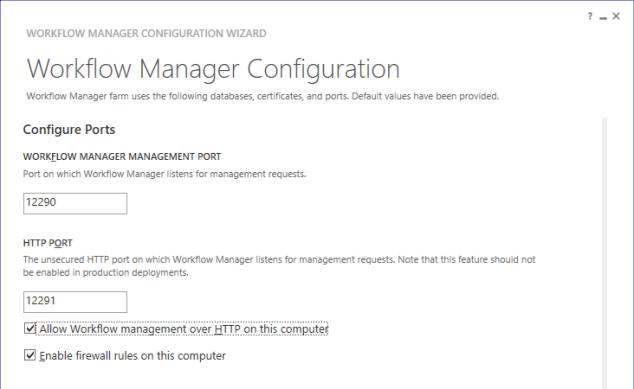 Configure WF Ports
