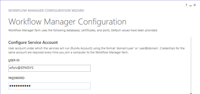 Configure WF Service Account