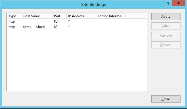 SharePoint Site IIS Bindings