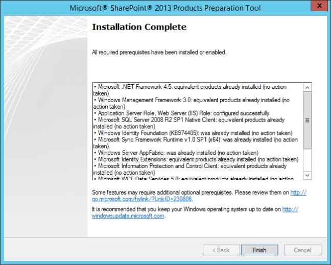Continue SharePoint Prerequisite Installer