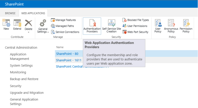 Enable New SharePoint web application button in Central Administration