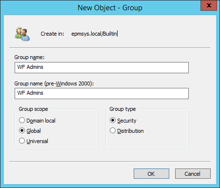 WF Admins Group - Configure Workflow Admin group name