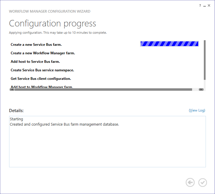 WF Config Progress - Configure Workflow Manager for SharePoint 2013