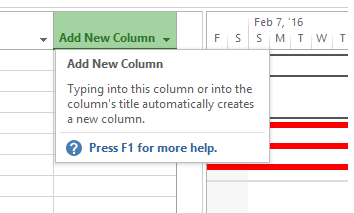 Add New Column in microsoft project