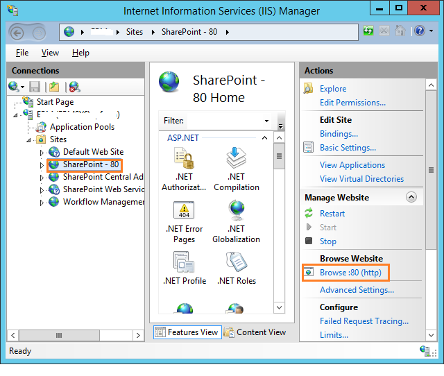Browse the SharePoint site from IIS