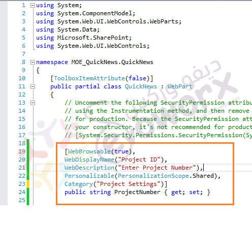custom property visual web part source code