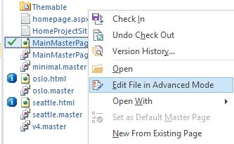 Edit file in advanced mode