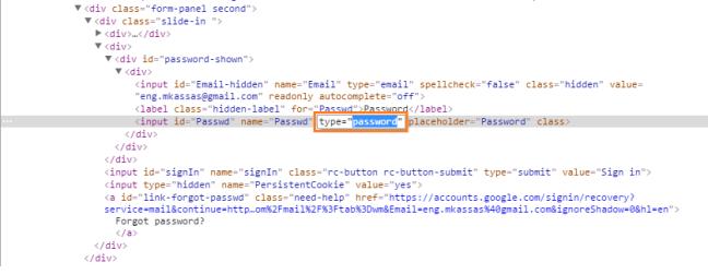 edit password type attribute