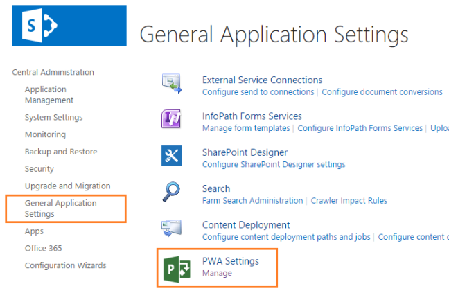 General Application Settings in Project Server