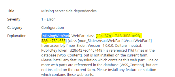 Missing web part health analyzer error 1