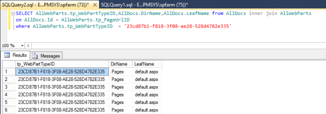 Missing web part health analyzer error sql query 2