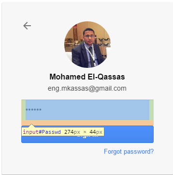 Password field selected