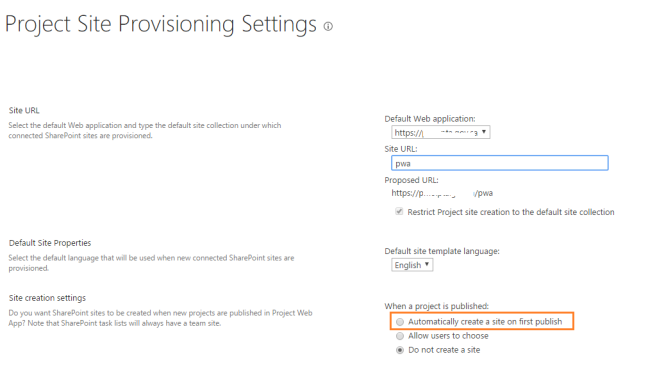 Project Site Provisioning Settings