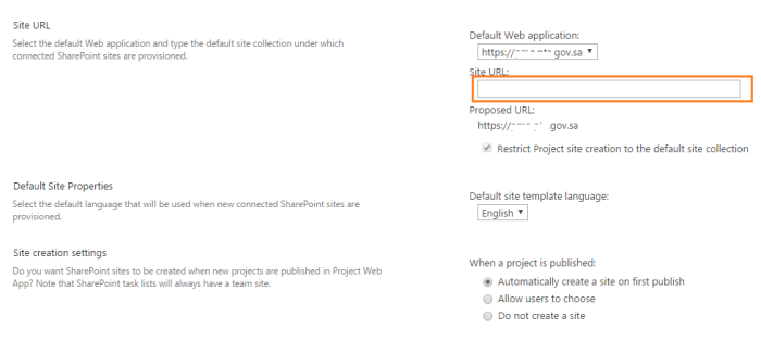 Project Site Provisioning Settings 2