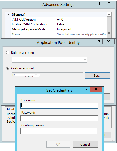 Set Application Pool Identity Credentials