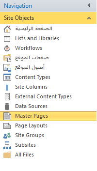 Site Objects Master Pages