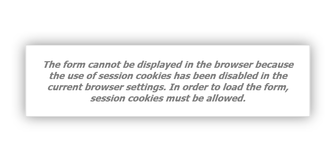 the form can not be dispalyed because cookies