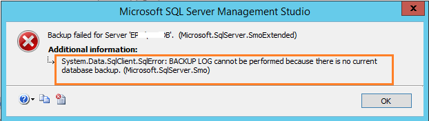 BACKUP LOG cannot be performed because there is no current database backup SSMS1