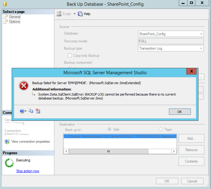 BACKUP LOG cannot be performed because there is no current database backup SSMS