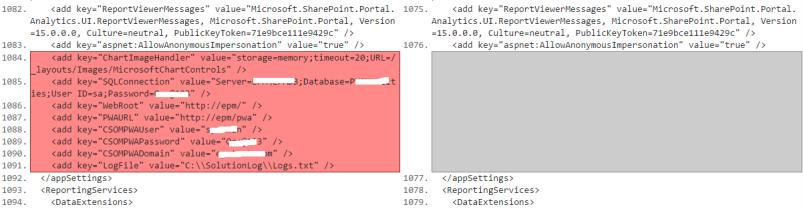 compare Web Config