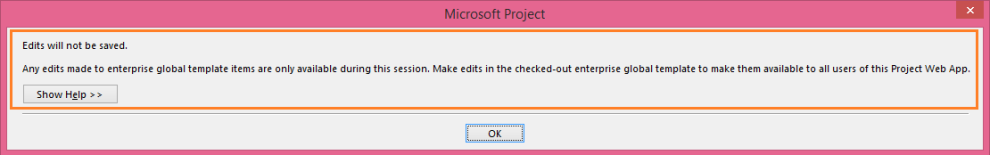 Edits will not be saved in Project 2013