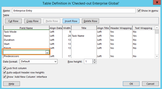 Insert row in table defenation in Project 2013