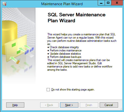 Log back up maintenance plan wizard
