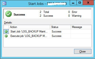 Run SharePoint Config database Log back up
