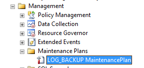SharePoint Config database Log back up maintenance plan List