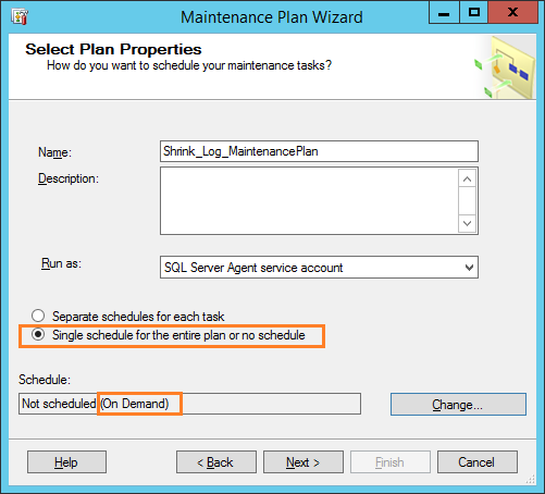maintinance plan wizard 2