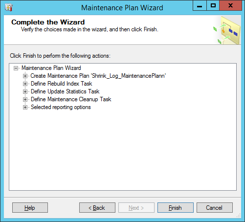 maintinance plan wizard 30