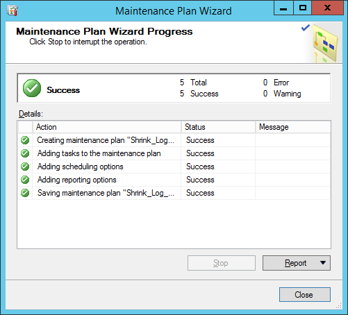 maintinance plan wizard 31
