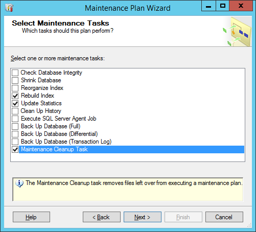Rebuild Index maintenance plan wizard