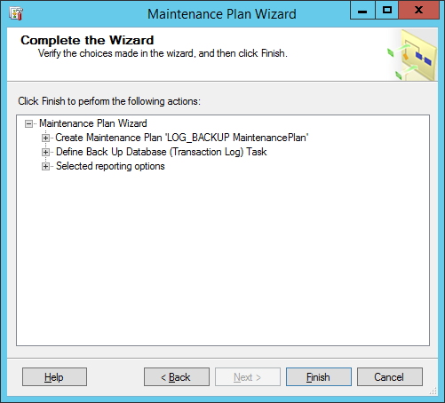 maintinance plan wizard 9