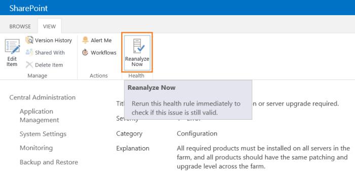Reanalyze SharePoint Health Analyzer Errors