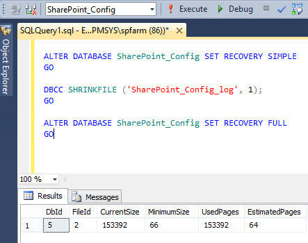 Shrink failed for SharePoint_Config - The transaction log for database SharePoint_Config is full due to LOG_BACKUP