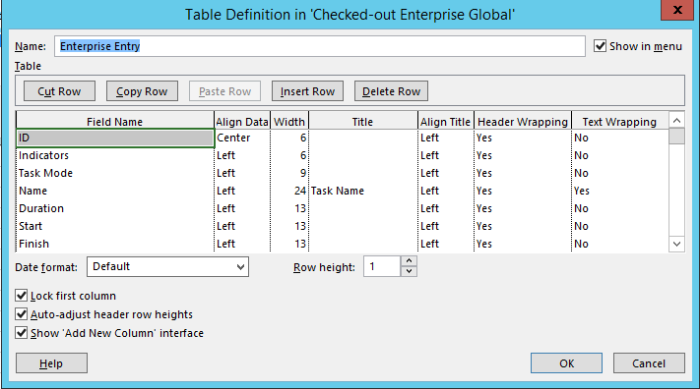 Tables Defenation in Project 2013