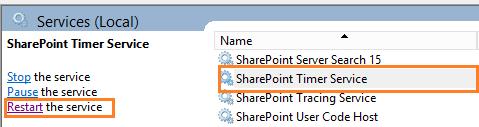 Restart SharePoint Timer Service