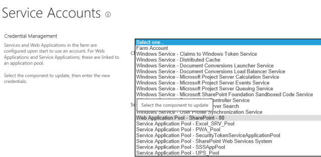 Service Accounts Component list In SharePoint