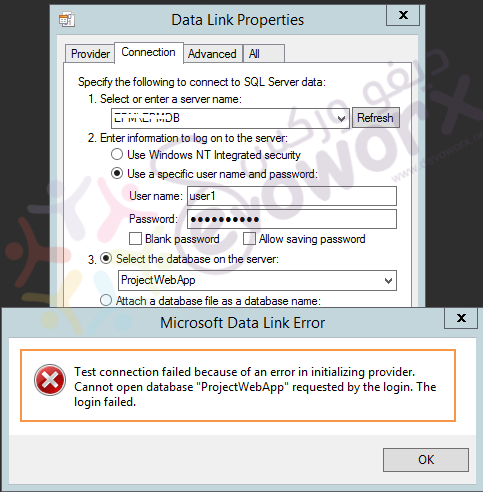 Data Link Properties - Test connection failed.png
