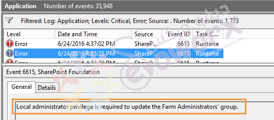 Local administrator privilege is required to update the Farm Administrators' group. - SharePoint - Devoworx
