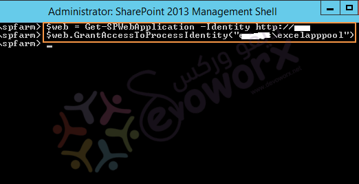 grant content database access to the managed account vis powershell