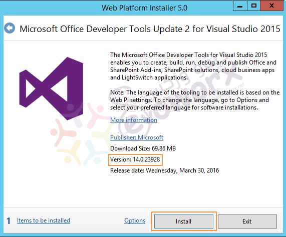 Microsoft Office Developer Tools for Visual Studio 2015 - install