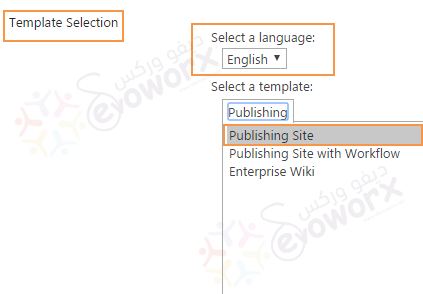 Select Language - Create new Site - SharePoint