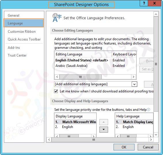 SharePoint Designer Language Options