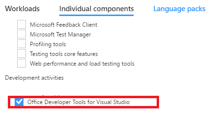 Office Developer Tools for Visual Studio 2017
