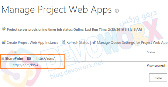 Create / Provision a new PWA Instance In Project Server