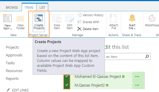 Create a new project based on SharePoint List item in Project Server 2016